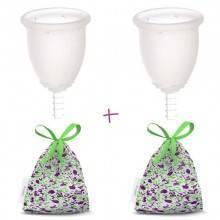Pack 2 copas Fleurcup con 2 bolsitas de tela