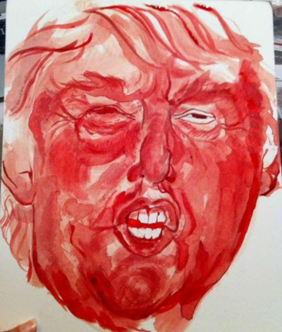 Donald Trump retratado con sangre menstrual